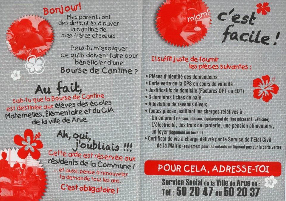 Flyer Bourse de cantine